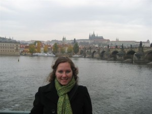 The author, Anastasia, in front of the Vltava river.