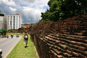 Walls surrounding the old city in Chiang Mai